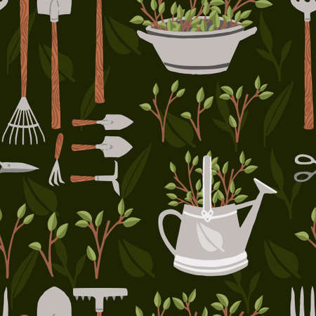 Seamless pattern collection of items for gardening various gardening tools vector illustration on green background.