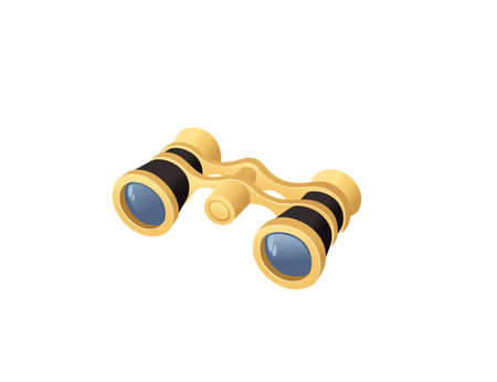 Professional optical device golden colored classic opera binoculars vector illustration isolated on white background.