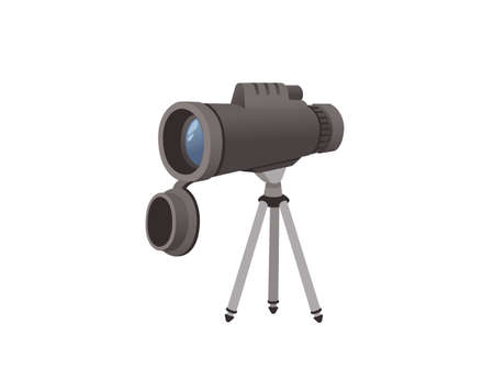 Professional optical device black monocular on monocular on a tripod vector illustration isolated on white background.