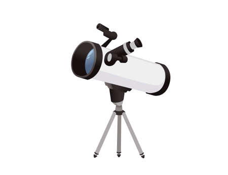 Professional optical device black and white classic reflector telescope on tripod vector illustration isolated on white background. Ilustrace