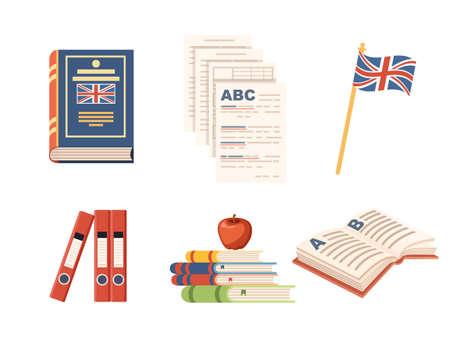 Seamless pattern English language courses online education concept or translation service vector illustration on white background. Ilustrace