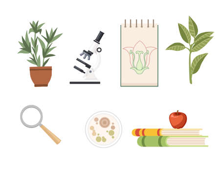 Seamless pattern Biology science courses online education concept or school lesson vector illustration on white background.