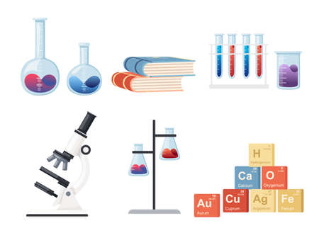 Seamless pattern Chemistry science courses online education concept or school lesson vector illustration on white background.