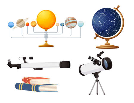 Seamless pattern Astronomy science courses online education concept or school lesson vector illustration on white background.