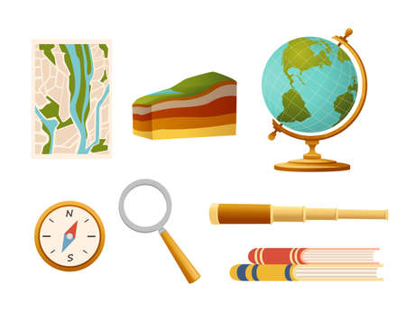 Seamless pattern Geography science courses online education concept or school lesson vector illustration on white background.