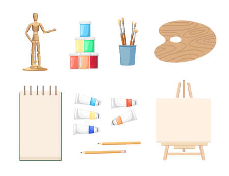 Seamless pattern Drawing and art lesson courses online education concept or school lesson vector illustration on white background.