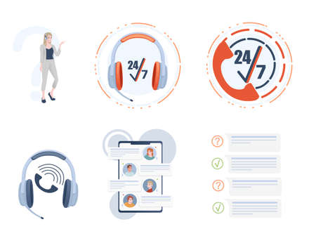 Set of call center icons technical support collection 24-7 vector illustration on white background.