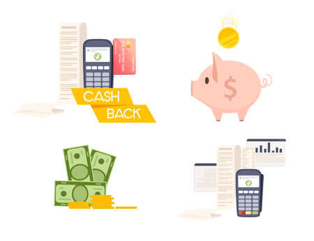 Set of POS terminal payment machine with paper bill check and piggy bank approve transaction concept vector illustration on white background.