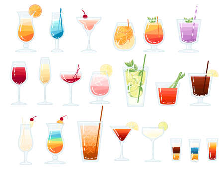 Big collection of tropical exotic alcoholic and non alcoholic cocktails vector illustration on white background.