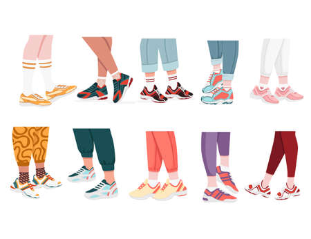 Collection of modern sneakers shoes on human legs colored design sports casual wear vector illustration isolated on white background. Ilustrace