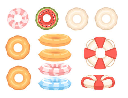Set of different shapes and colors swimming circles vector illustration on white background.