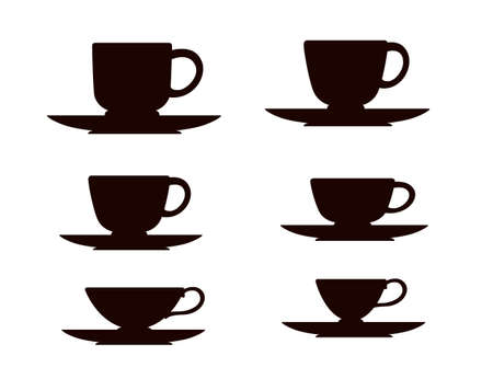 Black silhouette set tea or coffee cup on saucer vector illustration on white background.