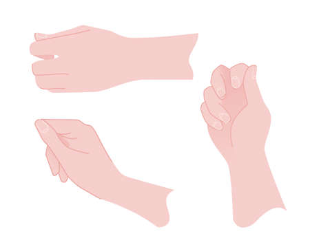 Set of three human hands with holding gestures vector illustration on white background. Ilustrace