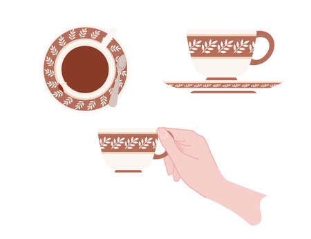 Hand holding a ceramic cup with brown pattern of tea on saucer vector illustration isolated on white background.
