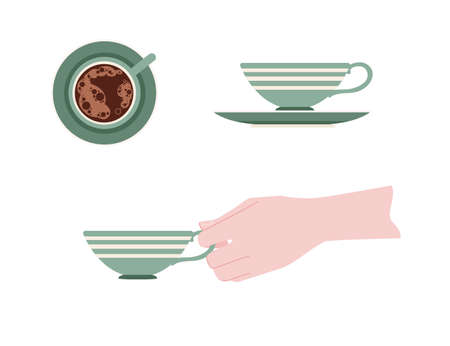Hand holding a ceramic cup with green pattern of tea on saucer vector illustration isolated on white background. Ilustrace