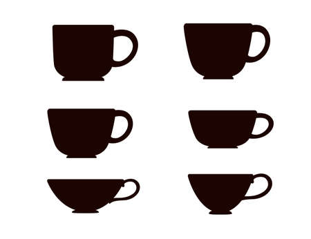 Black silhouette set tea or coffee cup vector illustration on white background.