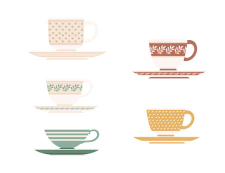 Colored set of ceramic tea cup on saucers with different patterns vector illustration isolated on white background.