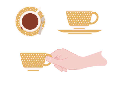 Hand holding a ceramic cup with yellow pattern of tea on saucer vector illustration isolated on white background. Ilustrace