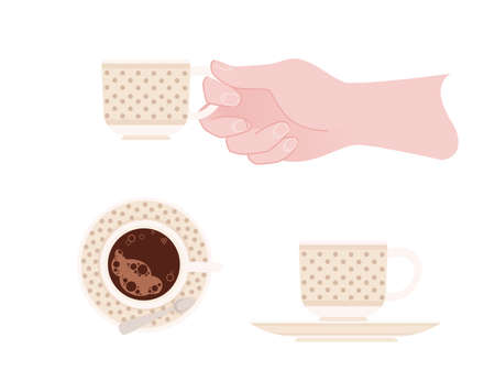 Hand holding a ceramic cup with beige pattern of tea on saucer vector illustration isolated on white background. Ilustrace