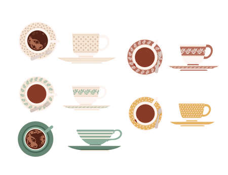 Colored set of ceramic tea cup on saucers with different patterns top and side view vector illustration isolated on white background.