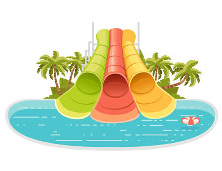 Waterpark illustration with colored plastic screw slides and pool with palm tree on the shore vector illustration on white background