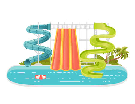 Waterpark illustration with colored plastic screw slides and pool with palm tree on the shore vector illustration on white background.
