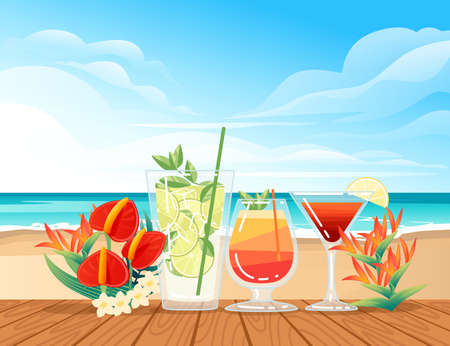 Three exotic cocktails in transparent glass on the beach with tropical flowers vector illustration with sea shore beach background.