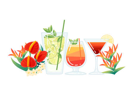 Three exotic cocktails in transparent glass with tropical flowers vector illustration on white background. Ilustrace