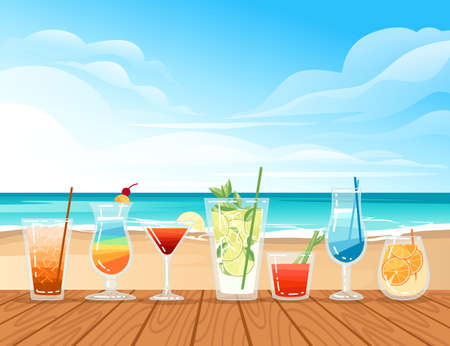 Group of exotic cocktails in transparent glass on the beach vector illustration with sea shore beach background.
