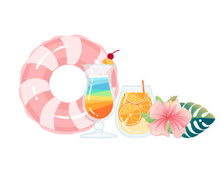 Two exotic cocktails in transparent glass with tropical flowers vector illustration on white background. Ilustrace
