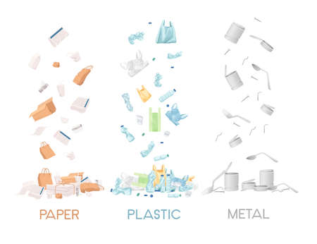 Three types of garbage paper plastic and metal waste vector illustration on white background.