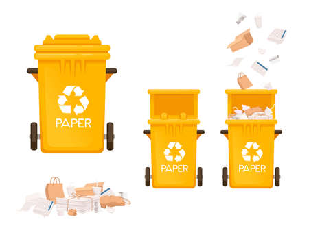 Yellow garbage bin trash can for paper types of waste vector illustration isolated on white background. Ilustrace