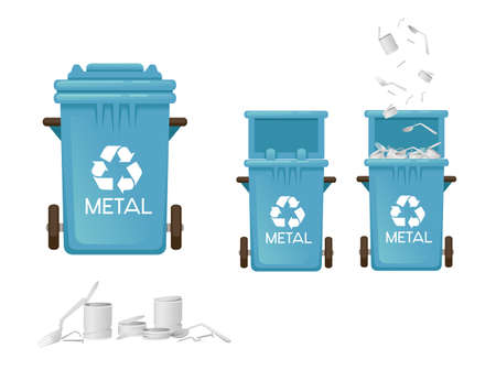 Blue garbage bin trash can for metal types of waste vector illustration isolated on white background.