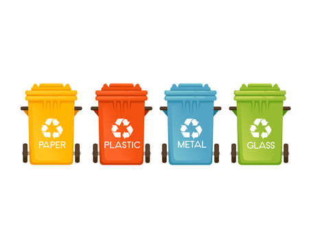 Set of colored garbage bins trash cans for different types of waste vector illustration isolated on white background.