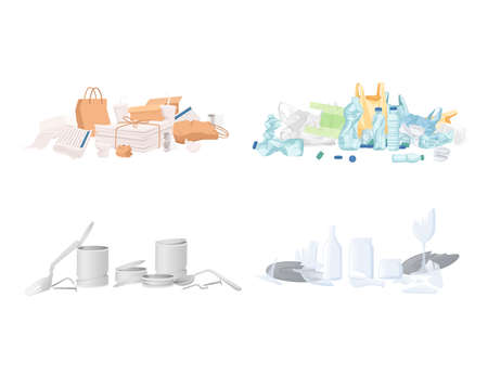Four types of garbage paper plastic glass and metal waste vector illustration on white background. Ilustrace