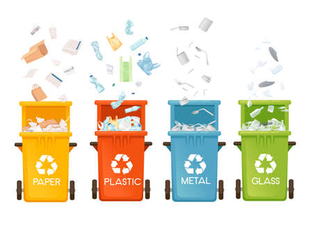 Set of colored opened garbage bins trash cans for different types of waste vector illustration isolated on white background.