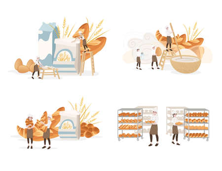 Bakery manufacturer male and female chef cooking professional bakery cartoon character design flat vector illustration on white background.