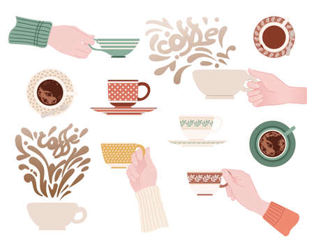 Set of hand holding different ceramic mugs with patterns tea cup on saucer vector illustration on white background.
