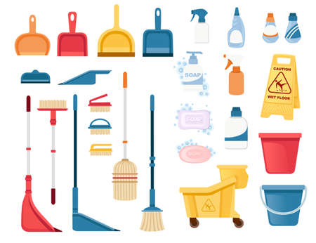 A set of items for cleaning and cleaning floors and disinfecting objects vector illustration isolated on white background.