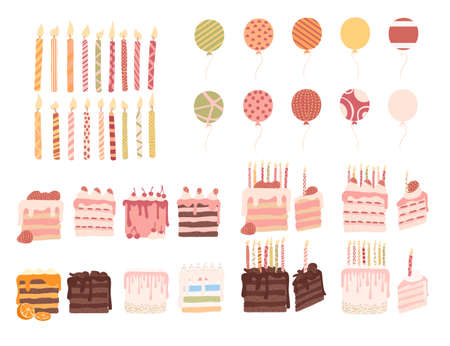 Set of birthday cake striped candles and air balloons birthday celebration vector illustration on white background.