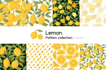 Pattern with seamless patterns collection of whole and chopped lemon with leaves or not vector illustration on white background