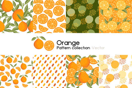Pattern with seamless patterns collection of whole and chopped orange with leaves or not vector illustration on white background
