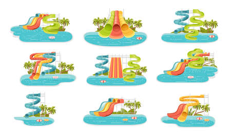 Set of waterpark illustration with colored plastic screw slides and pool with palm tree on the shore vector illustration on white background