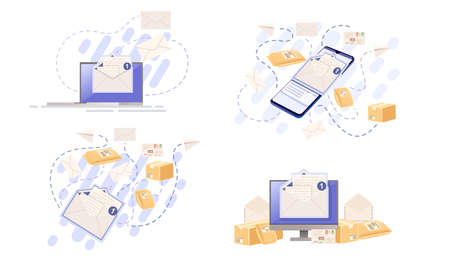 Set of abstract concept of sending mail envelope or parcel vector illustration on white background