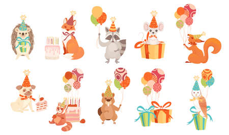 Set of festive style animals with gifts and ballons cartoon happy animal design vector illustration isolated on white background