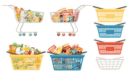 Set of shopping carts and baskets with foods vector illustration isolated on white background