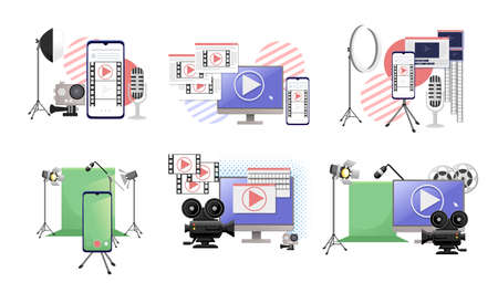 Set of video or film production cinematography concept media player on monitor with green screen and professional tools vector illustration on white background