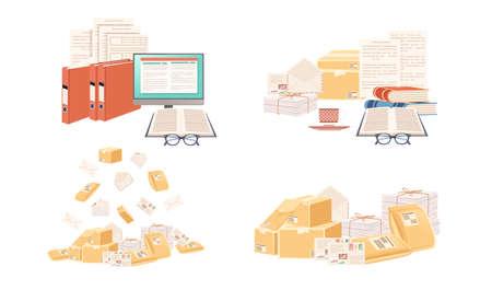 Set of stack cardboard and paper postal correspondence vector illustration on white background Stock Illustratie