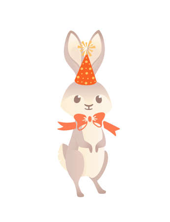 Cute gray bunny with cone hat and red bow cartoon animal design vector illustration on white background