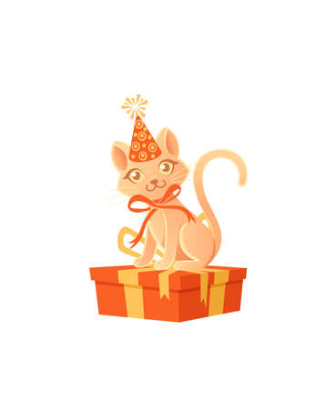 Cute cat with cone hat and red bow sitting on gift box cartoon animal design vector illustration on white background Stock Illustratie